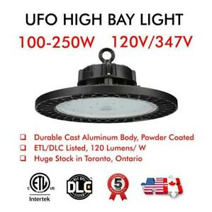 UFO LED High Bay Warehouse Lights 100W/150W/200W/240W ETL/DLC 120v/347v IP65 Waterproof Industrial Workshop
