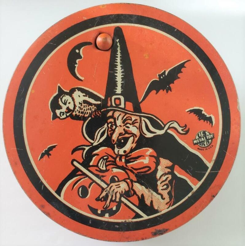 Vintage HALLOWEEN US Metal Toy Witch Round Ratchet Noisemaker  Owl Moon Bat