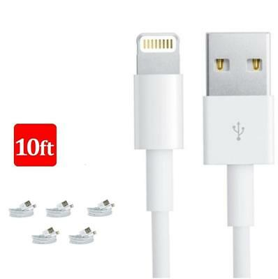 5x 10FT 3M 8 Pin USB Data Sync Charger Cable Cord For iPhone X 8 iPhone 6 5 A4