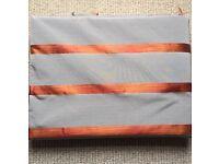 Designer Luxury Fabric Grey & Orange Stripe (8 Meters) - BATTERSEA COLLECTION