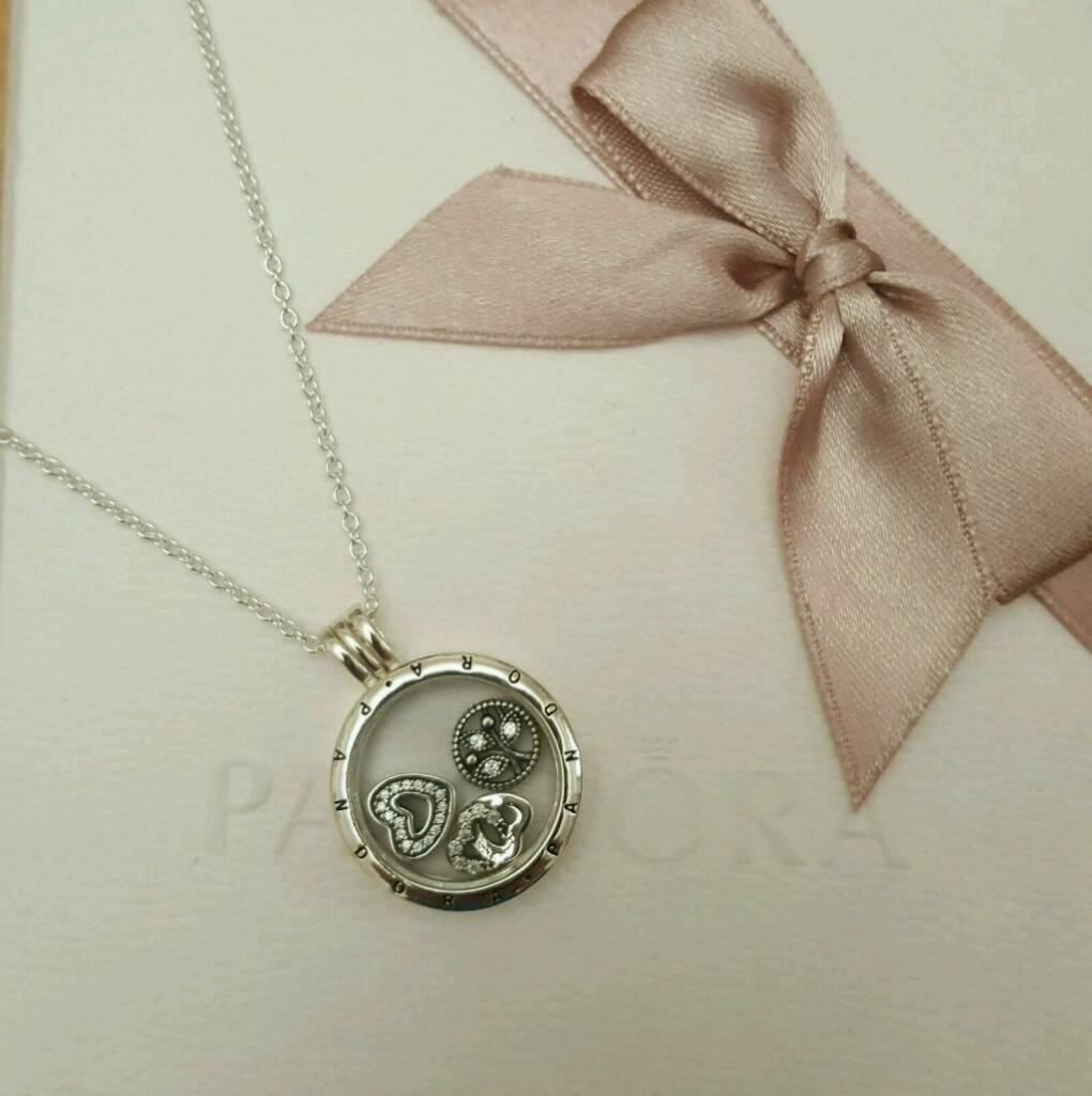 Pandora floating locket family charms necklace £65