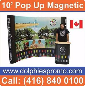 Trade Show Event 10' Pop Up Magnetic Booth Graphic Display PACKAGES + Full Color Graphics + Lights + Printed Podium