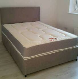New Grey Fabric Divan Bed 4ft6 Double with 2 drawer storage, Sprung Mattress with Headboard