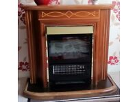 Elegant Solid Wood and Brass Surround with Electric Flame Effect Fire