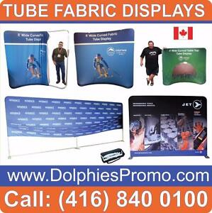 Trade Show Event Portable TUBE Pop Up Booth Back Wall Display + FREE Custom Full Color Backdrop Graphics + Travel Case