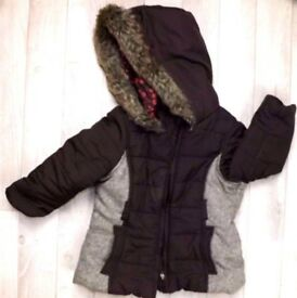 HOODED AND PADDED JACKET - BROWN - SIZE 12-18 months