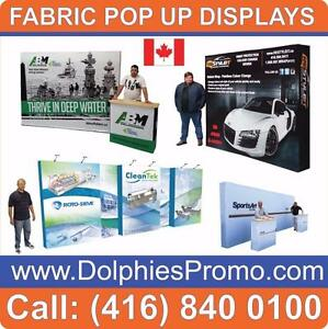 Portable Trade Show Pop Up Tension Fabric Displays Booths Pop-up Exhibit + Full Color Dye-Sublimation Printed Graphics