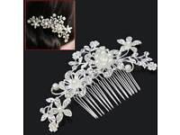 bridal wedding vintage vine flower comb slide