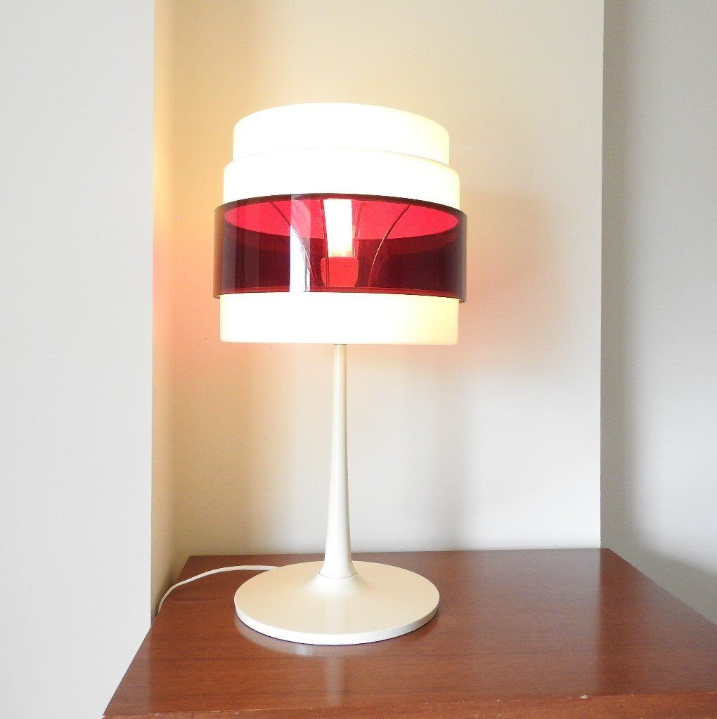 retro ikea red and white plastic energi gas space age style table lamp tulip base vintage. Black Bedroom Furniture Sets. Home Design Ideas