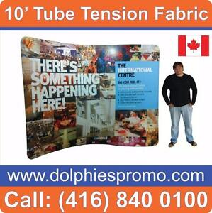 COMPLETE EXPO DISPLAY Tension Fabric Trade Show Displays TUBE Booth + Custom Full Color Graphics + Traveling Case