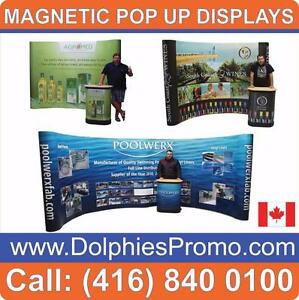 NEW Trade Show Pop Up Magnetic Booth DisplayExhibit Package + CUSTOM PRINT + PODIUM (Wheeled Case) + 2 Halogen Lights