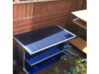 Blue and silver glass tv unit/table