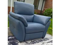 Ex-display Designer Pale Blue Genuine Leather Electric Reclining Arm Chair.