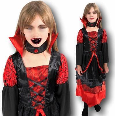 Mädchen Vampir Kostüm Deluxe Gothic Vampirin Queen Halloween - Gothic Vampir Kinder Kostüme
