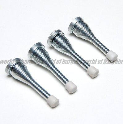 4x SPRING DOOR STOPPER STOPS Stop Nickel Finish Screw-On Doorstop Rubber Cap H59