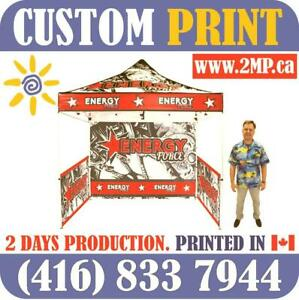 2 DAYS PRODUCTION Custom Printed Pop Up TENT Heavy Duty Frames Advertising FLAGS + Full Color Canopy Graphics Trade Show