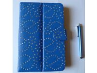 TABLET OR KINDLE 7 INCH FOLIO STAND CASE (BLUE) WITH STYLUS PEN-BRAND NEW
