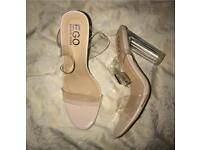 Ego Ariana perspex pvc clear heel size 4