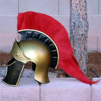 GRAECO ROMAN SOLDIER Legionaire Centurion STEEL HELMET ARMOR with RED PLUME New