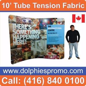 Portable Trade Show 10' TUBE Tension Fabric Backdrop Display + Dye-Sublimation Fabric Graphics by DolphiesPromo.com