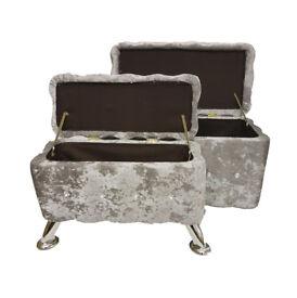 SILVER GREY Set of 2 Crush Velvet Diamante Ottoman Storage Box Footstool Pouffe Seat Chair Chest