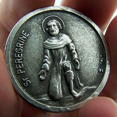St Peregrine & Saint Agatha Two Sided Metal Pocket Token 1 1/4 Made In Italy