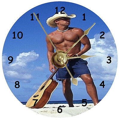 Kenny Chesney On Beach With Guitar Cd Clock