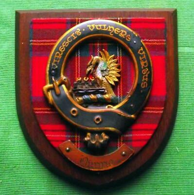 Vintage Nice Scottish Carved Oak Clan DUNNE Tartan Plaque Crest Shield