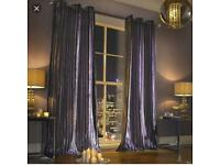"Kylie Minogue Home Lliana Velvet Amethyst Purple Eyelet Lined Curtains 90"" x 90"""