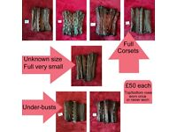 Barley worn and unworn corsets, various sizes