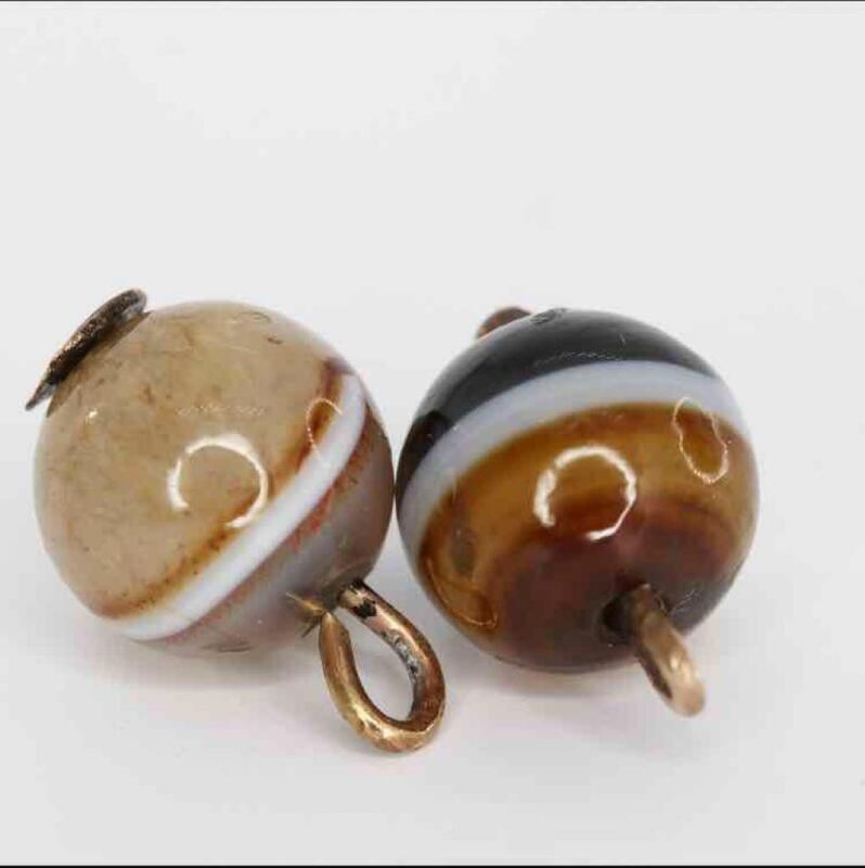 Lovely Antique Victorian Rolled Gold Banded Agate Charm/Pendant Fob x2