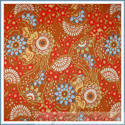 BonEful Fabric Cotton Quilt Amy Butler Brown Red Calico Flower Asian Fan 1 SCRAP Cottage Bed Tent