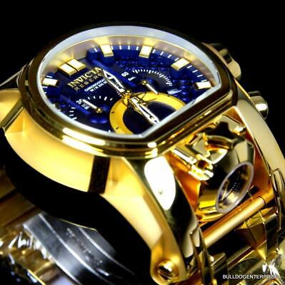 Invicta Reserve Bolt Zeus Magnum Swiss 18kt Gold Plated Dual Dial Blue Watch New