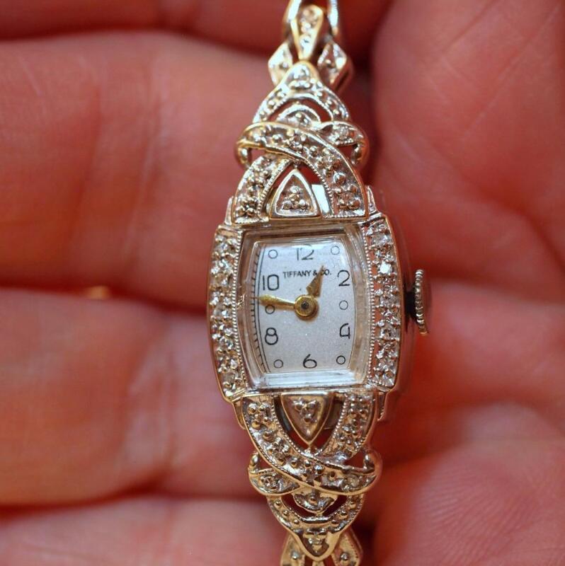 Art Deco Tiffany 14K White Gold Diamond Ladies Wristwatch Kasper & Esh Bracelet