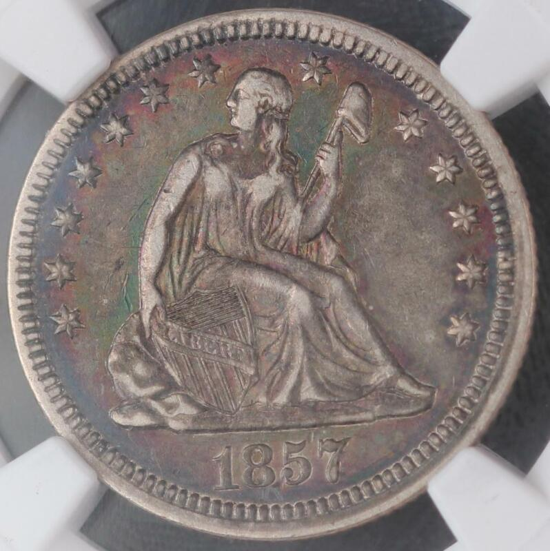 1857 Seated Liberty XF45 Silver Quarter - Toned - DoubleJCoins - 2008-75