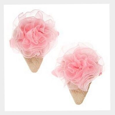 Gymboree Pink Ruffle 3D Ice Cream Cone S/2 2 barrette Hair Clips  age 4 5 6 7 8  ()