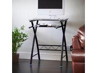 VonHaus Computer Desk for Home Black Glass Workstation with Keyboard Tray - Ideal for Small Spaces