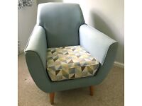 Geometric Blue Armchair Farrah