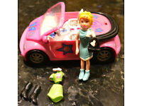 Polly Pocket Pink Covertible Volkswagon Car circa 2000