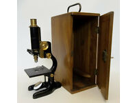 Antique Bausch & Lomb Microscope With Storage Box & Key