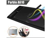 Graphics Tablet Parblo A610 with rechargeable Digital Pen