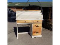 Painted pine roll top bureau desk