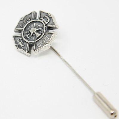 Silver Firefighter Emblem Stick Pin Fire Dept. Cravat Lapel Hat 543