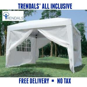 TRENDALS® ALL INCLUSIVE PRICE | 10x10 ft Easy Pop Up Wedding Party Gazebo Tent Canopy White EZ Tent