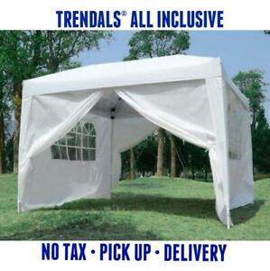 TRENDALS® SUMMER SALE | 10x10 ft Easy Pop Up Wedding Party Gazebo Tent Canopy White Coffee Blue & Green