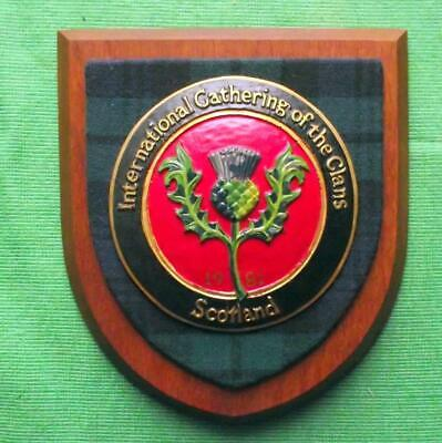 Vintage Nice Scottish Carved Oak CLAN GATHERING Tartan Plaque Crest Shield