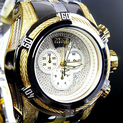Invicta Reserve Bolt Zeus 1.95 CTW Diamonds High Polish Gold 2 Tone Watch New