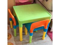 Children's colourful plastic table and chairs