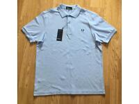 BRAND NEW WITH TAGS MENS GENUINE FRED PERRY PASTLE SKY BLUE POLO T-SHIRT (MEDIUM)