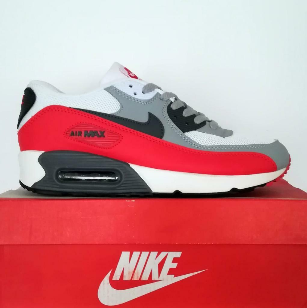 free shipping 50fd9 4f4f3 Brand New with Box Mens Nike Air Max 90 White Grey Red size 6, 7 Trainers  Shoes